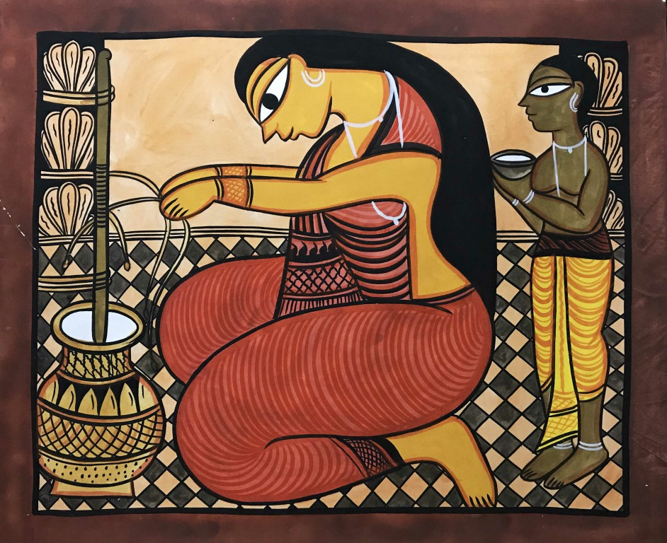 bengal style-13 Size-15.5''x18.5.5'' water colour on paper bhadur chitrakar Rs. 8000