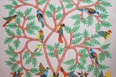 Gond-176 Artist- Kaushal Prasad Tekkam Medium- Acrylic on canvas Size-34''x24''