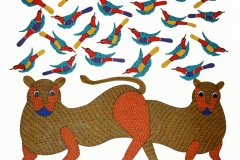 Gond384 Artist- Rajender shyam size-35''x37.5'' medium- acrylic on canvas price-60000~1