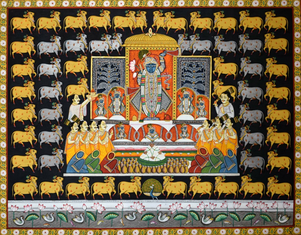 pichwai-72 27 x 21 in. artist Manish Soni Medium Water and silver n gold foil on paper Price Rs. 65,000 (3)