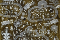 Warli-116 Artist- Amit mahadev dombre medium- cow dung on cloth size-37''x22''