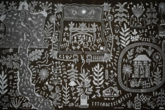 Warli-117 Artist- Amit mahadev dombre medium- cow dung on cloth size-40''x64''