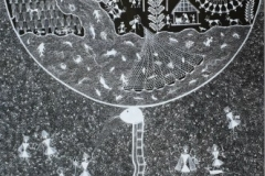 Warli-118 Artist- Amit mahadev dombre medium- cow dung on cloth size-64''x29''